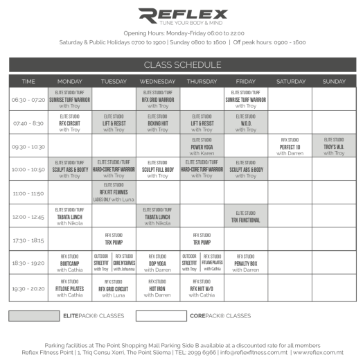 reflex sliema classes class schedule